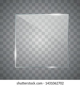 Photo realistic texture with highlights and glow. Vector square glass frame. Realistic window mockup.