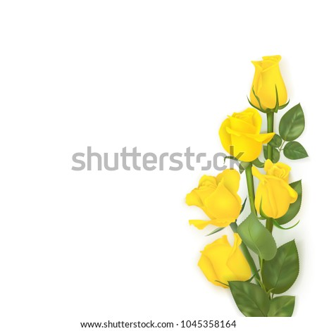 Photo Realistic Vector Bouquet Yellow Roses Stock Vector Royalty