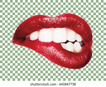 Photo realistic Vector Kiss. Sexy Lips with White Tooth Savage Bite