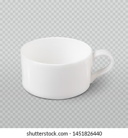 Photo realistic white cup isolated on plaid transparent like background. Vector template for mock up. Drink mug vector illustration for your design and business