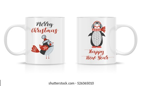 Photo realistic white cup isolated on the white background, with New Year and Christmas illustration. Design Template for Mock Up. Vector. Two mug mock-up.