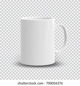 Photo realistic white cup isolated on plaid transparent background. Vector template for mock up. Drink mug vector illustration for your design and business