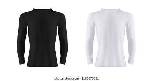Photo Realistic White T Shirt with Long Sleves - Black and White Vector