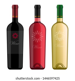 Photo realistic wine bottles with logo in different style and color. Rose, red wine, white wine. Studio lighting effect.