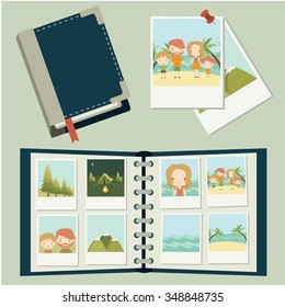 Photo set. Family traveling, vacation. Photos, photo album. Vector