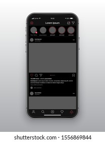 Photo Sharing Mobile App Instagram New Dark Mode UI and UX Alternative Trendy Concept Vector Mockup Frameless Smartphone Screen Iphone 11 Isolated on Light Background. Social Network Design Template