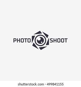 Photo shoot logo template design. Vector illustration.
