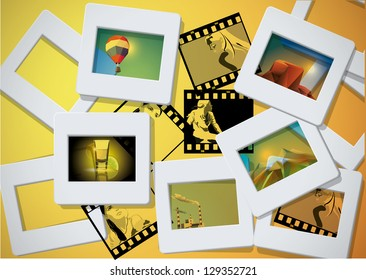 photo and slade frames background with images.