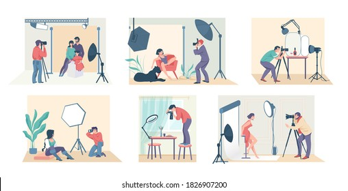 Photo studio. Cartoon photographers shooting family, model, couple and people in costumes. Vector illustration fashion modern professionals taking photo at studio