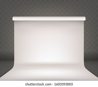 Photo studio empty interior with white blank background realistic vector. Professional photo equipment cyclorama, isolated on transparent background