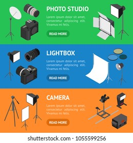 Photo Studio Equipment Banner Horizontal Set Isometric View for Web and App Include of Tripod and Lamp. Vector illustration of Photostudio Equipments