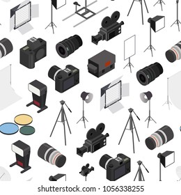 Photo Studio Equipment Seamless Pattern Background on a White Isometric View for Web and App Include of Tripod and Lamp. Vector illustration of Photostudio Equipments