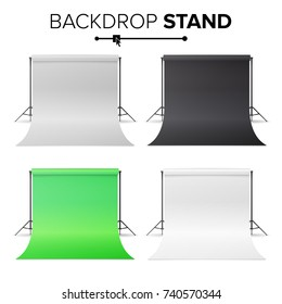 Photo Studio Hromakey Set Vector. Modern Photo Studio. Black, White, Green Backdrop Stand Tripods. Realistic 3D Template Mock Up. Isolated Illustration