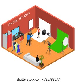 Photo Studio Interior with Furniture Isometric View Professional Fashion Photograph and Technology Photographer. Vector illustration of Photostudio Room
