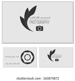 Photo studio logo and business card template. Vector photography logo templates. Photo cam logotype.Realistic lens. Photo camera logo. Photo studio icon. Photo camera badge. Photographer. Photo studio