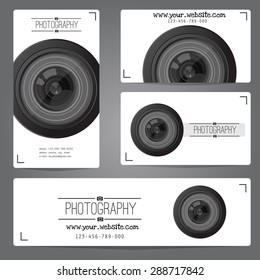 Photo studio logo and business card template vector collection photography logo templates cam logotypes Realistic lens camera logo photo studio icon Photo camera badge photographer