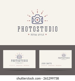 Photo studio logo in retro hipster style and business card template. Vector illustration.