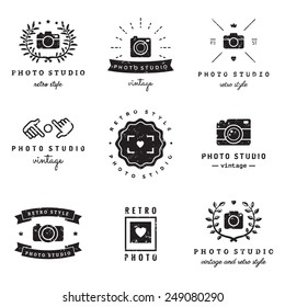 Photo studio logo vintage vector set. Hipster and retro style. Perfect for your business design.