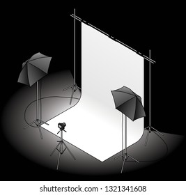 A photo studio set up with a backdrop, umbrella flash lights on tripods, and a camera. On a dark background.