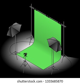 A photo studio set up with a green screen backdrop, umbrella flash lights on tripods, and a camera. On a dark background.