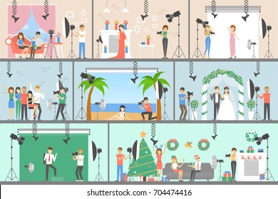 Photo studio set of illustrations. Photo equipment, people and backgrounds.