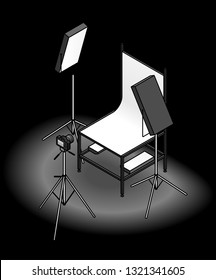 A photo studio table-top product photography set up with a backdrop, flood lights, and a camera. On a dark background.