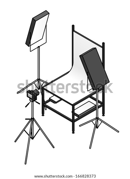 A photo studio table-top product photography set up with a backdrop, flood lights, and a camera.
