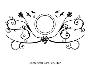 Photo or text vector frame with flowers and birds.