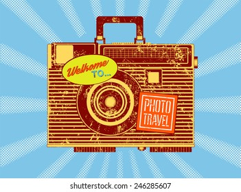 Photo travel. Vintage camera-suitcase. Retro grunge style poster. Vector illustration.
