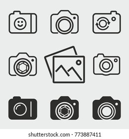 Photo vector icons set. Black illustration isolated for graphic and web design.