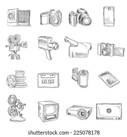 Photo video camera and multimedia professional equipment doodle icons set isolated vector illustration