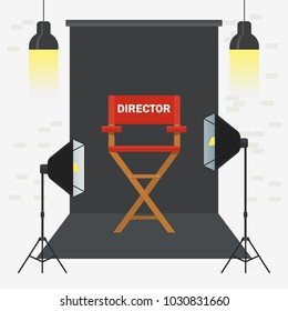 Photo and video porodaction studio poster template. Equipment for photo studio, production of films and advertising. Flat vector cartoon illustration. Objects isolated on a white background.