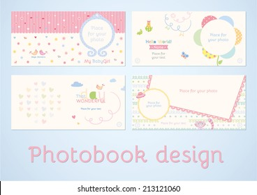 Photoalbum design. Photobook design. Set of double pages design for photoalbum in vector. Scrapbooking elements with space for text and photo