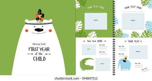 """Photobook with cartoon animals for children, """"the first year of the child."""" Frames, stickers, poster, postcard, metric. Memory book for photos. Cover with a brave bear on a greenery background."""