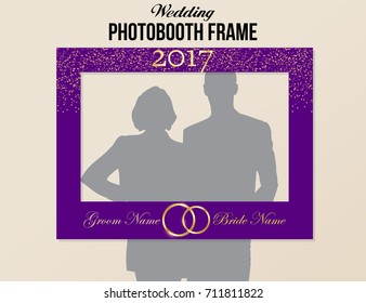Photobooth wedding frame with year and groom bride names. Purple and gold colors vector template with glitter and rings.