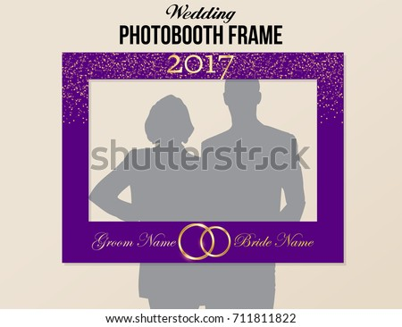 Photobooth Wedding Frame With Year And Groom Bride Names Purple Gold Colors Vector Template