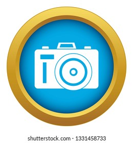 Photocamera icon blue vector isolated on white background for any design