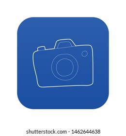 Photocamera icon blue vector isolated on white background
