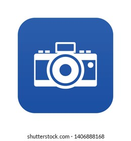 Photocamera icon digital blue for any design isolated on white vector illustration