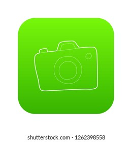 Photocamera icon green vector isolated on white background