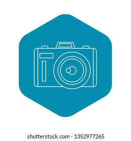 Photocamera icon. Outline illustration of photocamera vector icon for web
