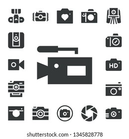 photocamera icon set. 17 filled photocamera icons.  Collection Of - Camera