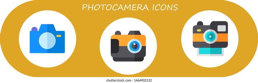 photocamera icon set. 3 flat photocamera icons.  Collection Of - camera