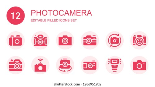 photocamera icon set. Collection of 12 filled photocamera icons included Camera, Photo camera, Camera flash