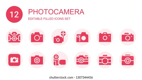 photocamera icon set. Collection of 12 filled photocamera icons included Camera, Photo camera