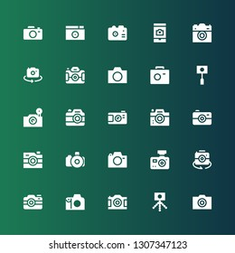 photocamera icon set. Collection of 25 filled photocamera icons included Camera, Photo camera