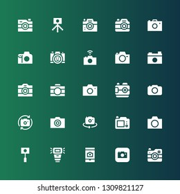 photocamera icon set. Collection of 25 filled photocamera icons included Camera, Camera flash, Photo camera