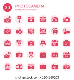 photocamera icon set. Collection of 30 filled photocamera icons included Photo camera, Camera, Camera flash