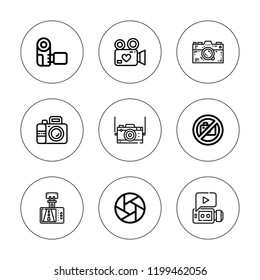 Photocamera icon set. collection of 9 outline photocamera icons with camera icons. editable icons.