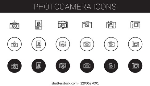 photocamera icons set. Collection of photocamera with photo camera, camera. Editable and scalable photocamera icons.